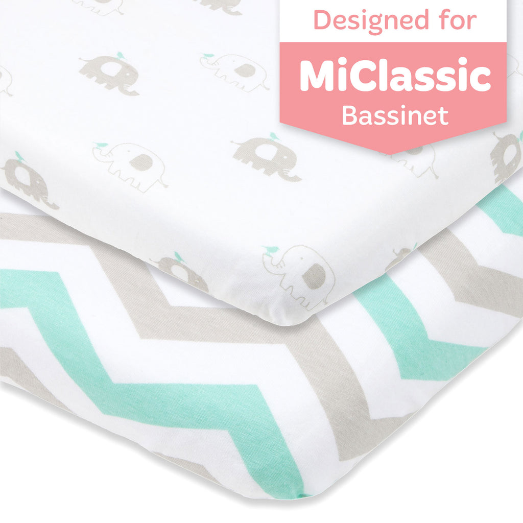 "Joey & Joan MiClassic Bassinet Fitted Sheet Set – Fits 20 x 35"" Bedside Sleeper Mattress Perfectly Without Bunching – Snuggly Soft Breathable Jersey Cotton – 2 Pack – Grey, Mint Chevron and Elephants"