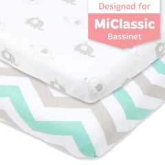 Bassinet Fitted Sheets Compatible with MiClassic Bassinet – Fits 20 x 35 Bedside Sleeper Mattress Perfectly – No-Bunching – Snuggly Soft Breathable Jersey Cotton – Grey, Mint – 2 Pack