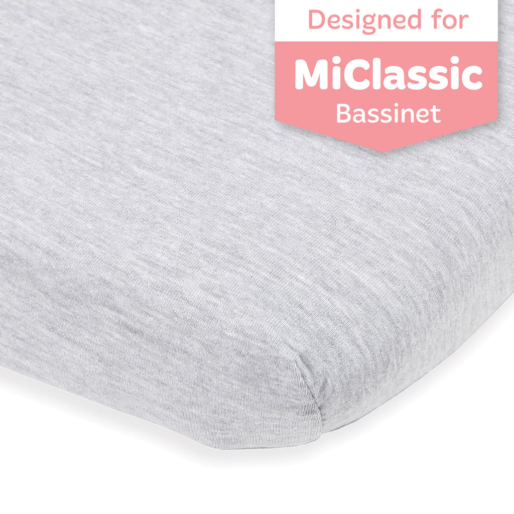 Bassinet Fitted Sheet Compatible with MiClassic Bassinet – Fits 20 x 35 Bedside Sleeper Mattress Perfectly – No-Bunching – Snuggly Soft Breathable Jersey Cotton – Light Grey