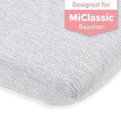Cotton Jersey Bedside Sleeper Fitted Sheets – Heather Grey, Light