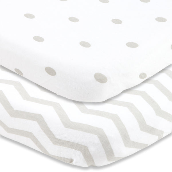 Cuddly Cubs Pack and Play Sheets Fitted | Compatible With Graco Pack n Play Fitted Sheet | 2 Pack Playard Sheets | Snug Fit Pack n Play Sheet Set | Grey Portable Mini Crib Sheets | UPC 653437677309