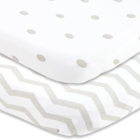 Cuddly Cubs Mini Crib Sheet Set | Grey Fitted Playard Sheets for Graco Pack n Play Mattress, Baby Bjorn, 4Moms, Chicco Lullaby and Other Playpen Portable Travel Cribs and Play Yards - Dots and Chevron