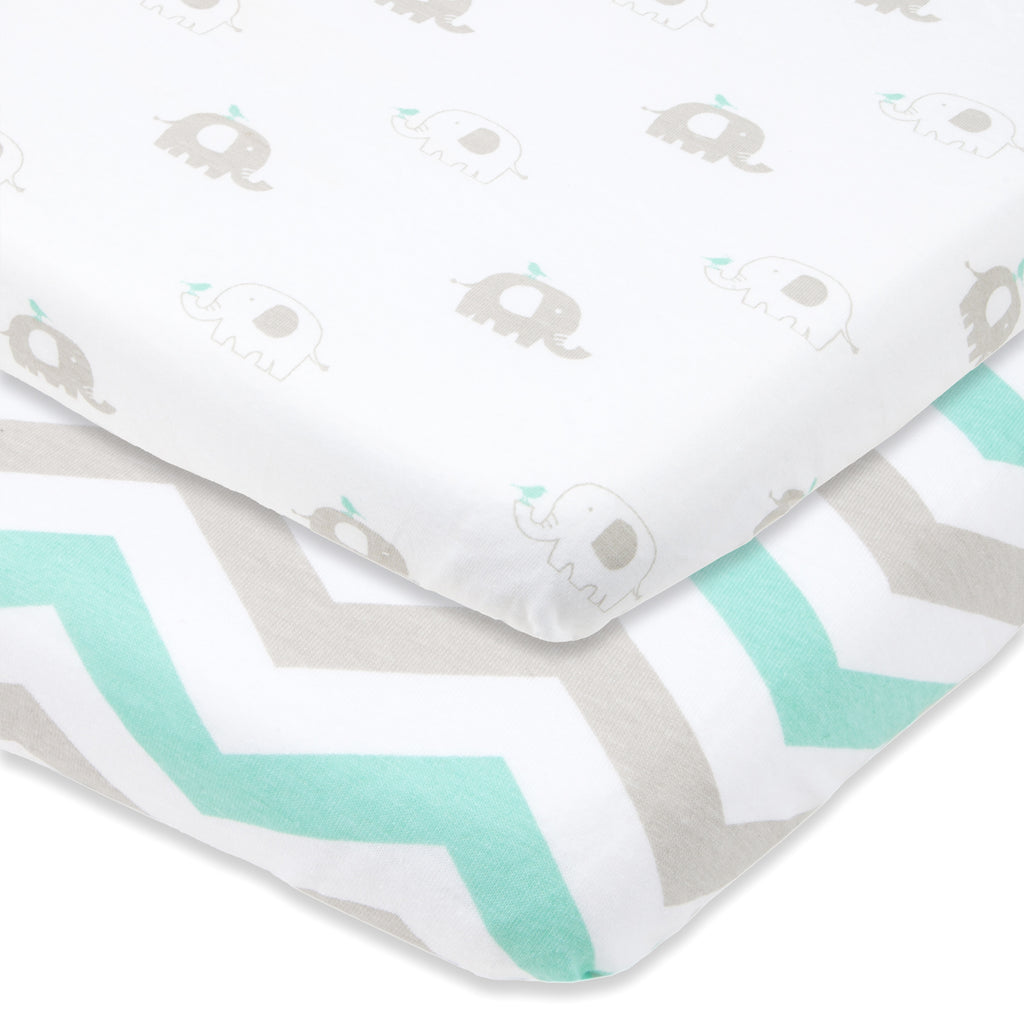 Cotton Jersey Cradle / Co Sleeper Fitted Sheets, 2 Pack – Elephants & Chevron