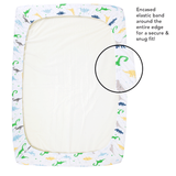 Dinosaur Fitted Pack and Play Playard Sheets Compatible With Graco Pack n Play, 4Moms, Chicco, Guava Lotus and Other Playpen, Play Yards, Portable and Mini Cribs