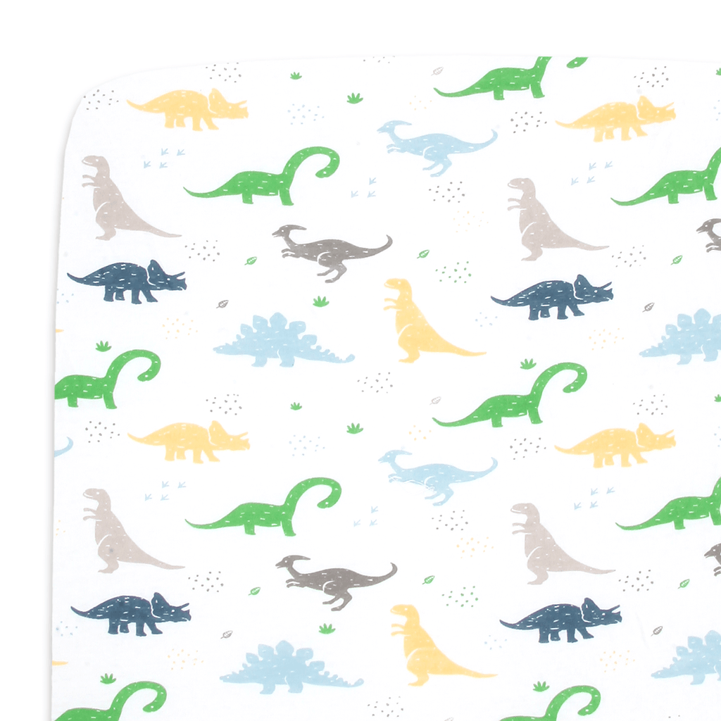 Cotton Jersey Fitted Playard Sheets – Dinosaurs
