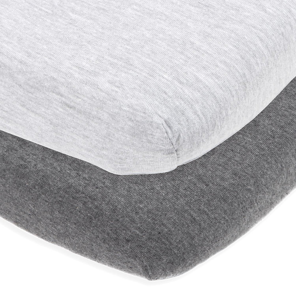 Cotton Jersey Cradle / Co Sleeper Fitted Sheets, 2 Pack – Heather Grey