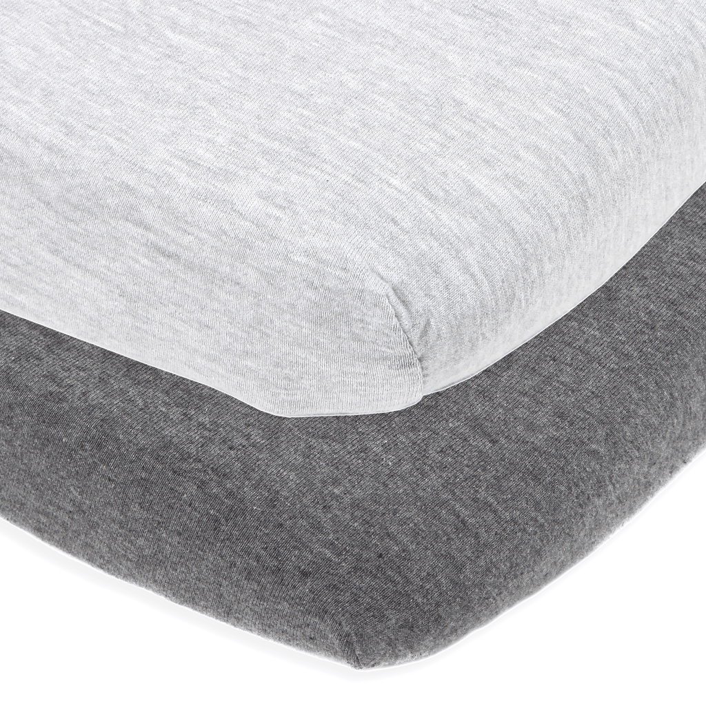 Cotton Jersey Fitted Playard Sheets, 2 Pack – Heather Grey