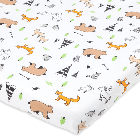 Woodland Animals Pack n Play Playard Sheet Compatible with Graco | Pure Jersey Cotton Unisex Mini Portable Crib Sheet