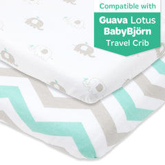 Cotton Jersey Fitted Travel Crib Sheets, 2 Pack – Green