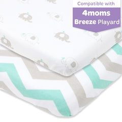 Cotton Jersey Fitted Playard Sheets, 2 Pack – Green