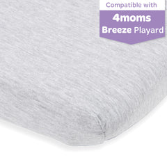 Cotton Jersey Fitted Playard Sheets – Heather Grey, Light