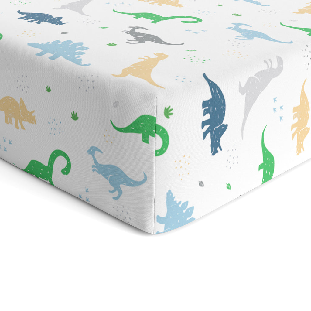 Cotton Jersey Fitted Crib Sheets – Dinosaurs