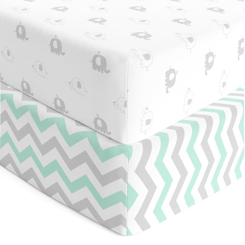 Crib Mattress Sheets - Heavenly Soft Jersey Knit Cotton Fitted Crib Sheet Set 2 Pack - Elephant Crib Sheets Boy or Girl - Standard Crib or Toddler Sheets, Mint Green, Grey