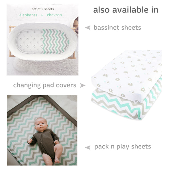 Cuddly Cubs Mini Crib Sheet Set | 2 Pack Playard Fitted Sheet For Graco Pack n Play Mattress, 4Moms, Chicco, BabyBjorn and other Playpen Travel Cribs & Play Yards | Green & Grey Elephant Chevron