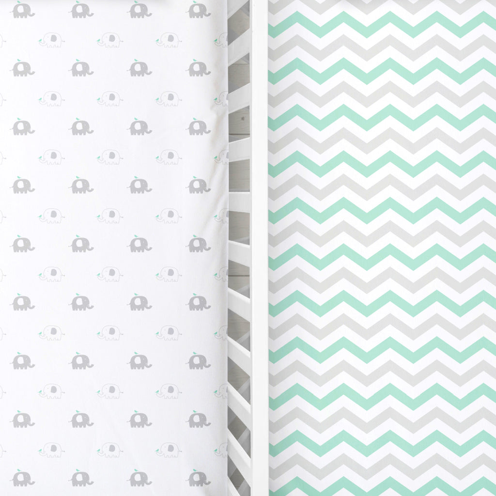 Cotton Jersey Fitted Crib Sheets – 2 Pack – Elephants & Chevron