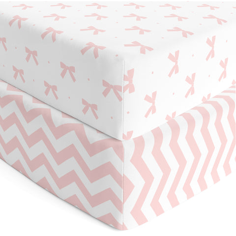 Crib Sheets - Pink Bows & Chevron