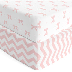 Baby Crib Sheets Girl 2 Pack | Jersey Cotton Fitted Crib Sheet Set and Toddler Bed Sheets | Pink Baby Girl Crib Sheets | Standard Crib and Toddler Bed Mattress Size 28 x 52 Inch - UPC 615435955728
