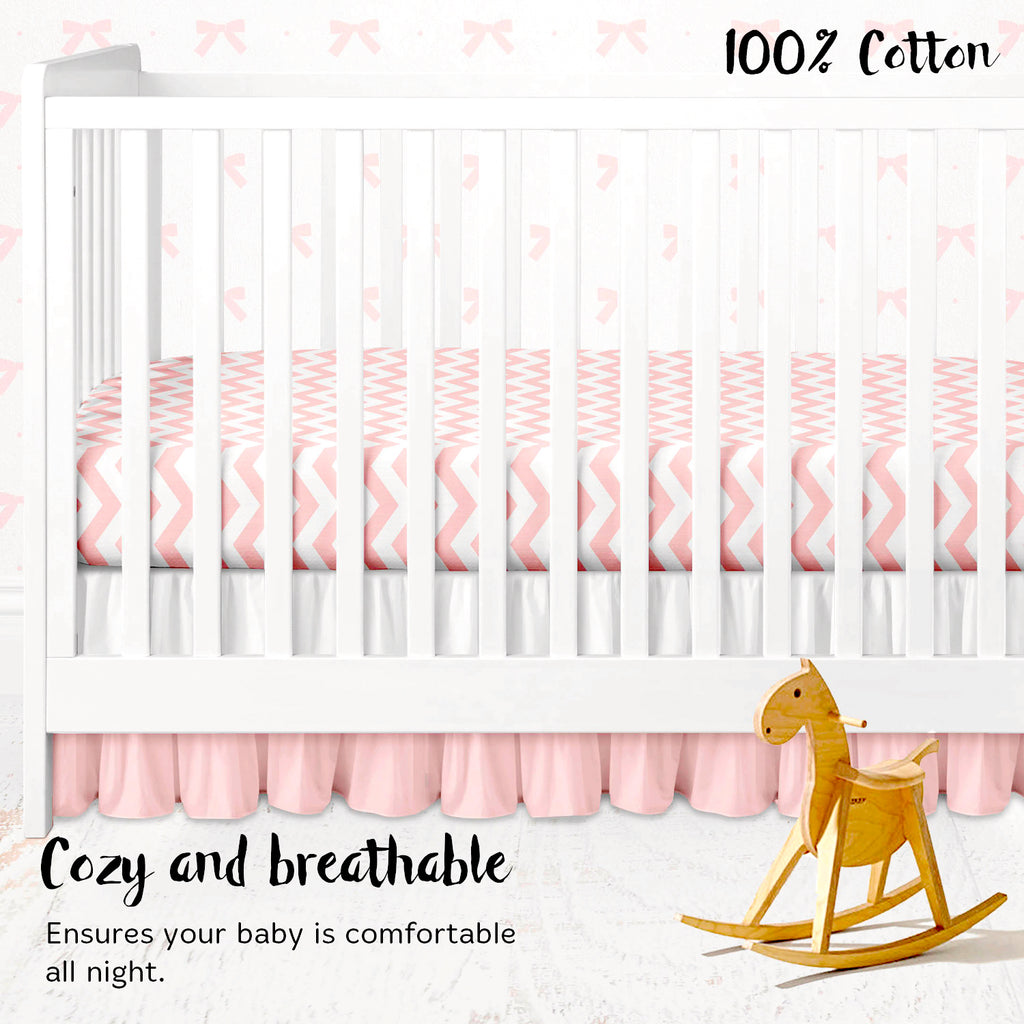Cotton Jersey Fitted Crib Sheets – 2 Pack – Bows & Chevron