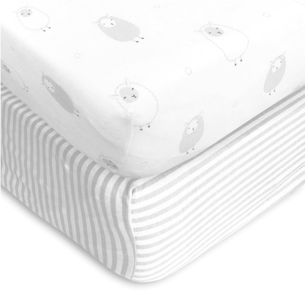 Cotton Jersey Changing Pad Covers, 2 Pack – Stripes & Lamb