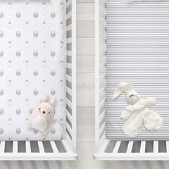 Cuddly Cubs Fitted Crib Sheets Set – 2 Pack – Jersey Cotton Crib Mattress Sheets for Baby Boy, Girl Crib – Grey Stripes, Sheep Toddler Bed Sheets – Fits on Standard 28 x 52