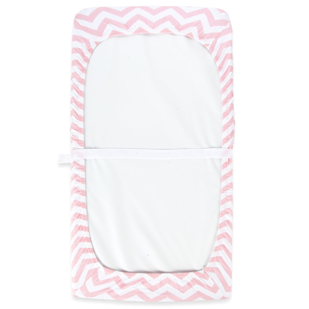 Cotton Jersey Changing Pad Covers, 2 Pack – Bows & Chevron