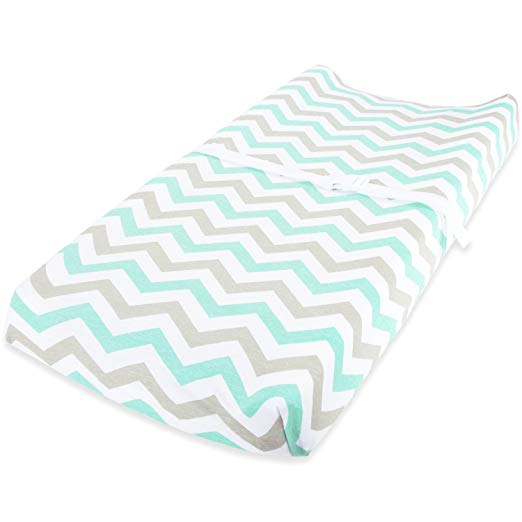 Cotton Jersey Changing Pad Covers, 2 Pack – Elephants & Chevron