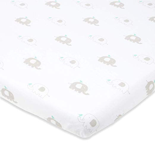 Cotton Jersey Fitted Playard Sheets, 2 Pack – Elephants & Chevron