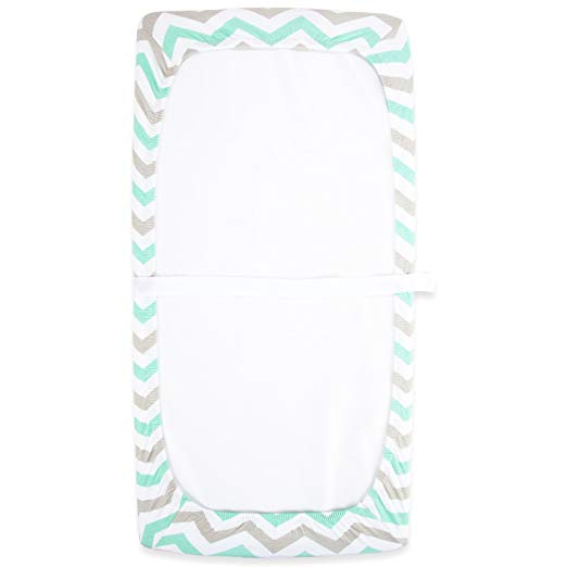 Cotton Changing Pad Covers - Mint & Grey Chevron with Elephants