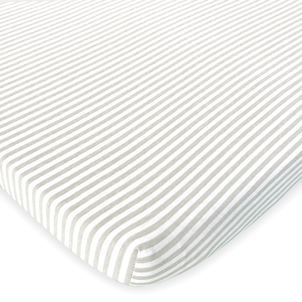 Cotton Jersey Fitted Playard Sheets, 2 Pack – Stripes & Lamb