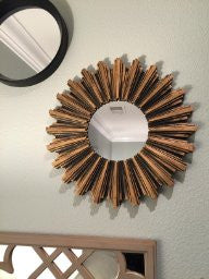 Antiqued Bronze Sunburst Wall Mirror
