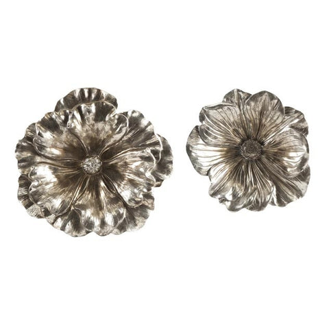 Antiqued Silver/Gold Flowers Wall Sculpture Set