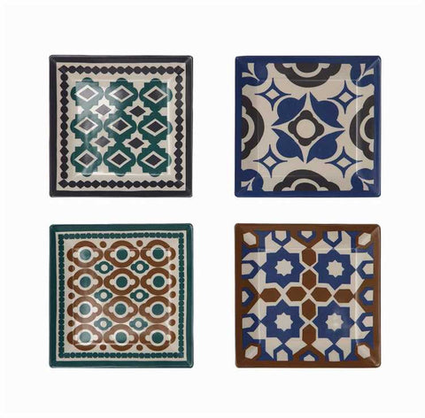 Azulejo Stoneware Plates, Set of 4
