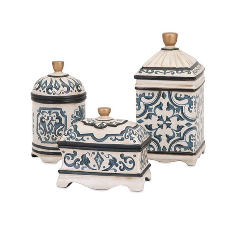Hand-painted in Baroque Accents Ceramic Boxes by Beth Kushnick, Set of 3