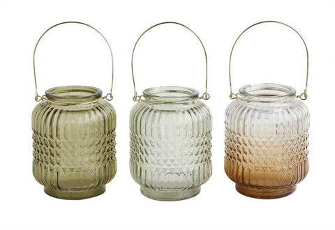 Bohemian Glass Lanterns with Metal Handle, Set of 3
