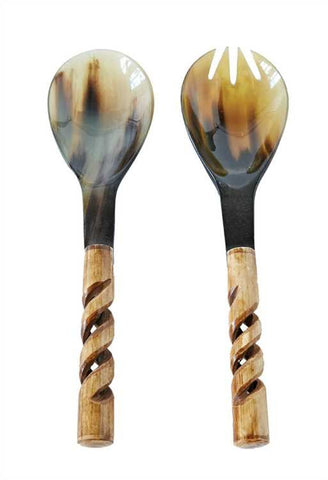 Serengeti Bone & Horn Salad Servers, Set of 2