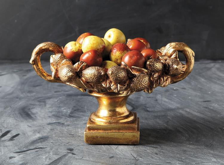 Camelot Pedestal Fruit Bowl Decorative Centerpiece, Gold