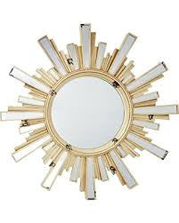 Cream Sunburst Mirror with Inlaid Rays