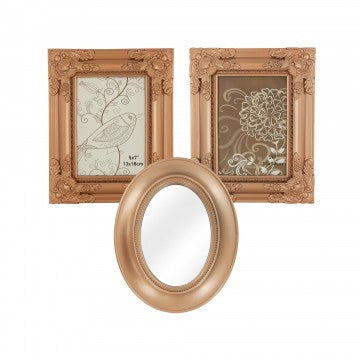 Decorative Copper Mirror & Photo Frames Set