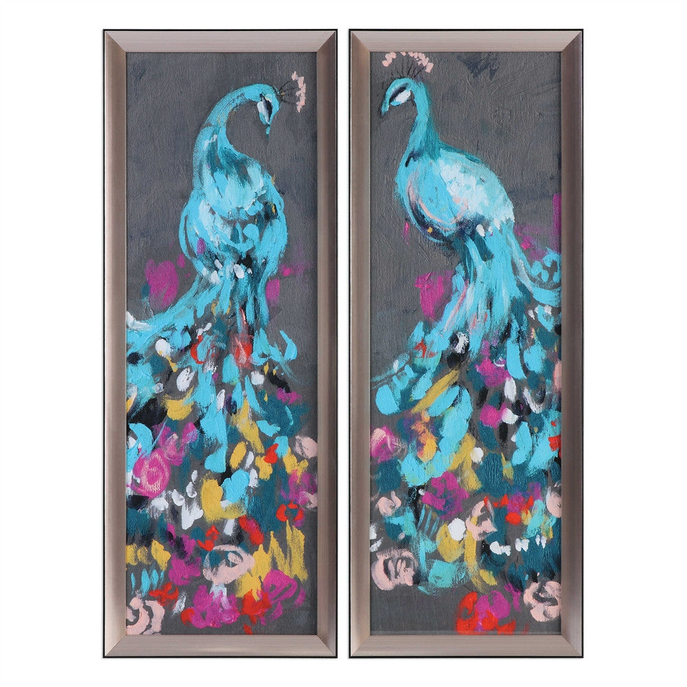 The Glorious Peacock, Wall Prints, Set of 2