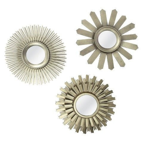 Trinity Gold Sunburst Wall Mirror Set