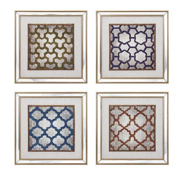 Mirrored Quatrefoil Wall Art, Set of 4