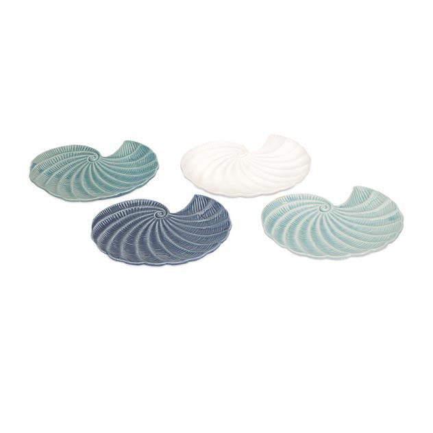Oceanspray Ceramic Shell Plates, Set of 4