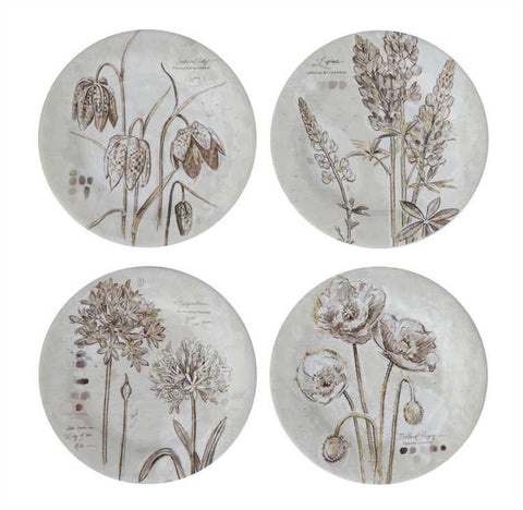 Offerings Melamine w/ Floral Pattern Plates, Set of 4