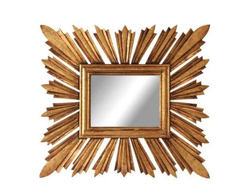 Rectangular Sunburst Mirror in Gold Finish