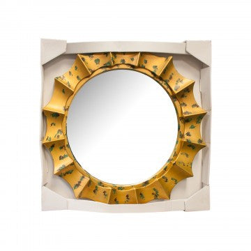 Home-by-the-Sea, Sunburst Mirror with Gold & Green Frame