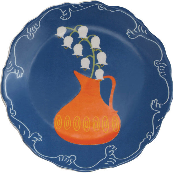Scallop-edged Decorative Plates with Flowers & Vase Design, Set of 4