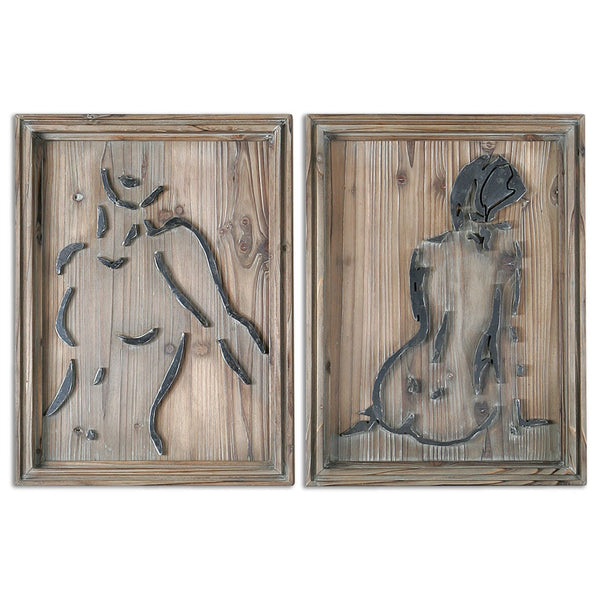 Silhouettes of Nudes, Mixed Media, Set of 2
