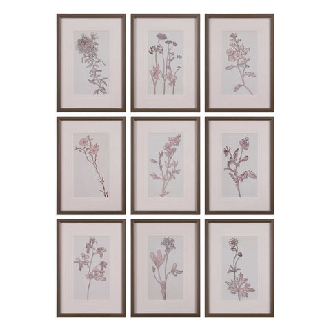 Delightful Spring, Floral Art, Set of 9