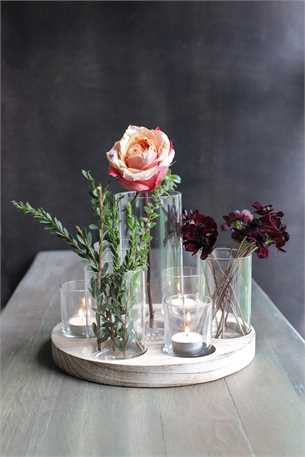 Versatile Round Wood Tray with 7 Glass Votive Holders / Vases
