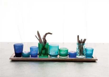 Wood Tray with 9 Glass Votive Holders, Blue